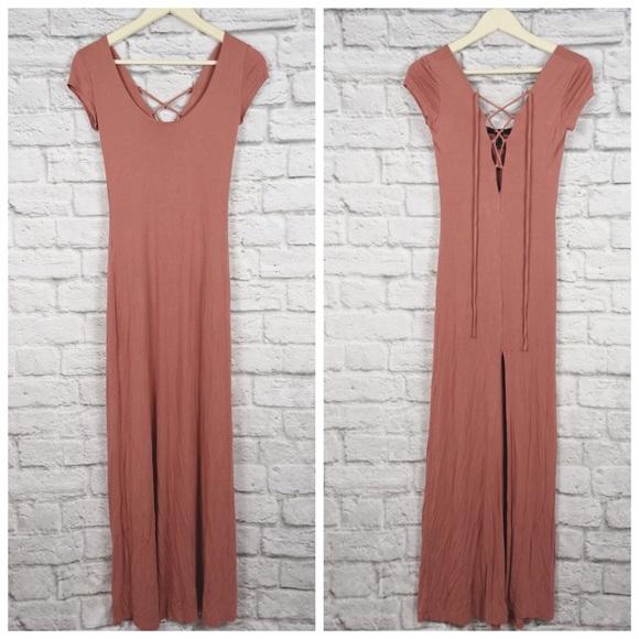 b00006512 Forever 21 Dresses | Dusty Rose Short Sleeve Maxi Dress | Poshmark